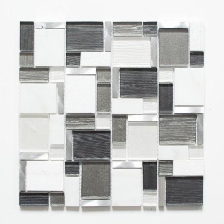 Mo 222 Crystal/Stein/Alu mix weiß/grau XCM FK02 1x4,8/2,3x2,3x4,8/4,8x6 - Hansas Plaadimaailm